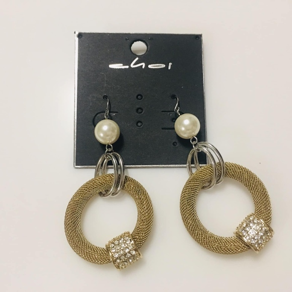 Choi Jewelry - Gold and Silver dangling pearl earrings